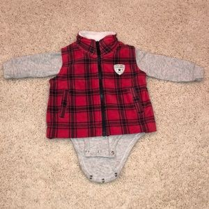 Carter's 6M baby boy fleece vest w/ onesie